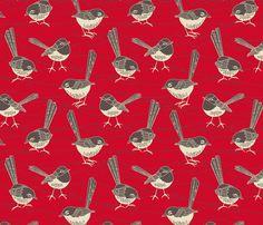 birdies red fabric by cjldesigns on Spoonflower - custom fabric