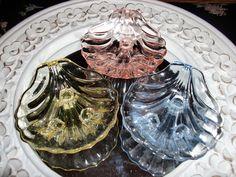Vintage Open Salt Cellars Depression Glass Footed Shells via Etsy.