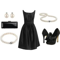Classic Audrey Hepburn Black Cocktail Dress ( New Years, Bridesmaid, Rehearsal, Wedding ), created by ggdesigns on Polyvore