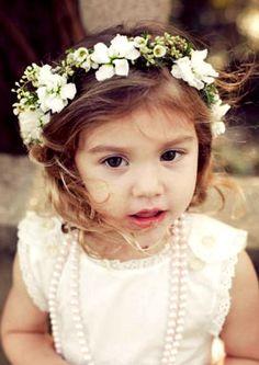 Little girl's white flower crown wedding ❀Flower ❀ Girls❀