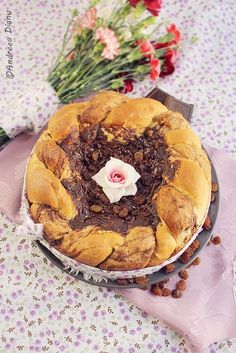 Pasca cu ciocolata/Chocolate cheesecake with dough- a traditional dessert for Romanian traditional Easter meal