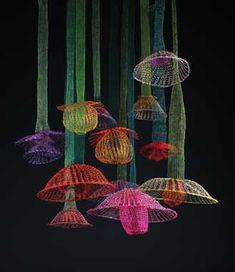 lights, english garden, arlin fisch, crochet art, gardens, inspir knit, fiber art, arline fisch, jellyfish artinspir