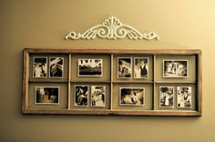 Great use for an old window. And the older, the better! Would be great matted with same size black & white or sepia pics too!