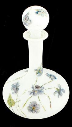 Antique Baccarat Perfume  Bottle - Enamel Violets Satin Glass - France 1870
