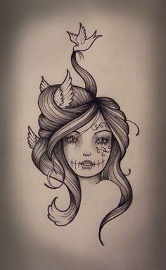 Sexy Sugar Skull Girl Drawing   Kate Muir: Bird Hair Gypsy Girl Tattoo Design