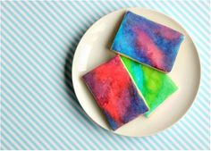 Handmade watercolor cookies -our kids would have s much fun making these for their grandma.