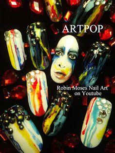 Artpop Lady Gaga Nail Art by Robin Moses
