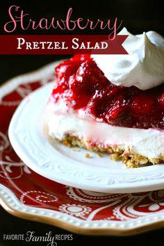 Strawberry Pretzel Salad from favfamilyrecipes.com - A savory sweet side dish or dessert.