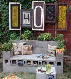What A Clever Way To Make Outdoor Seating That Is Weather Proof... Cinder Block Furniture...To Make Them More Permanent, Just Use Cement/Mortar, A Few Plants & Soil To Stabilize It In Place...(NOTE: Once You Make This Permanent With Concrete, You Will Not Be Able To Move, So Make Sure You Build It Where You Want It)...Click On Picture For Directions...