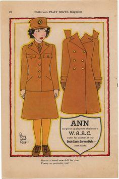 "Vintage ""Ann WAAC"" paper doll."