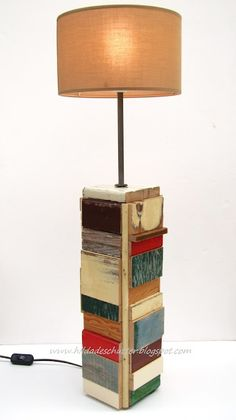 Lamp from reclaimed scrap wood.