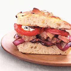Broiled Steak Sandwiches with Balsamic Vegetables   MyRecipes.com