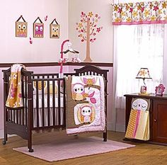 Rowan's bedding <3  In the Woods by CoCaLo Baby is an enchanting collection for a little girl who loves nature. #owls #trees #owl #softpink #pink #brown #nursery #bedding