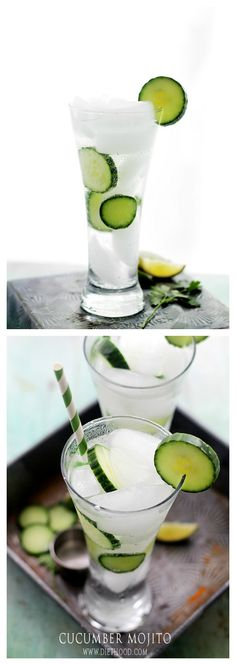 Cucumber Mojito | www.diethood.com | A delicious and refreshing twist on the classic mojito cocktail made with the addition of cucumbers. | #mojitos #recipe #drinks