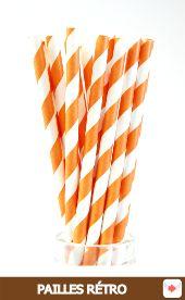 Pailles Rétro à Rayures orange pour #halloween