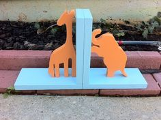 Orange Giraffe and Elephant with Blue Base by ProfessorFinley, $50.00