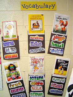 Picture book covers with target words underneath. LOVE this idea. One could have students make tally marks next to each word as they encounter them in other texts or use them when talking. LOVE.
