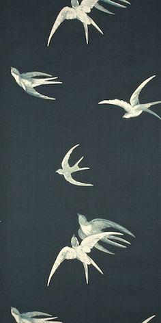 vintage wallpaper with swallows -  rondini #wallpaper #decor #design #interior