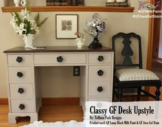 Trillium Park Designs, https://www.facebook.com/TrilliumParkDesigns?fref=ts, stained the top of this desk with GF Java Gel Stain and the chair was painted with our Lamp Black Milk Paint.  They look great together! #generalfinishes #javagelstain #gfmilkpaint