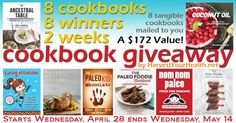 8 paleo cookbooks given to 8 winners! #paleo #giveaway
