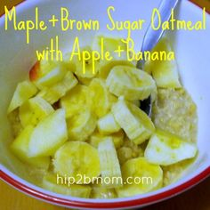 Maple+Brown Sugar Oatmeal with Apple and Banana