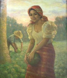 Girl holding a coconut fruit, Fernando Amorsolo
