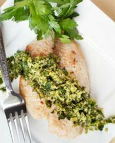 15-Minute Fish with Parsley Pesto | via @SparkPeople #food #recipe #dinner #healthy