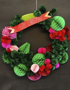 paper party, christmas crafts, honeycomb wreath, pompom wreath, papers