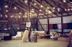 barn wedding ideas - hay bales and barn dance area (photo: braedon photography)