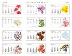 2013 flowers of the month calendar; free printable