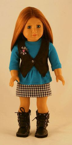American Girl Doll Clothes - Peplum Tee, Houndstooth Skirt, and Reversible Vest with Buttonhole. $34.00, via Etsy.