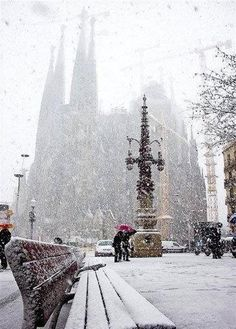 Snow storm in Barcelona,  Catalonia