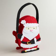 One of my favorite discoveries at WorldMarket.com: Santa Felt Containers, Set of 2 santa felt, craft idea, favorit discoveri