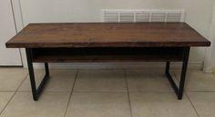 reclaimed wood coffee table, steel tube legs, custom build for Meghan M.