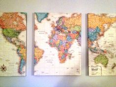 "Lay a world map over 3 canvas, cut into 3 pieces. Coat each canvas with Mod Podge and wrap the maps around them like presents. Let dry and hang on the wall about 2"" away from each other."