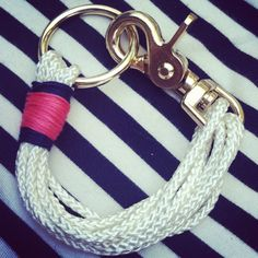 White and pink and navy rope bracelet by lauramichelle1 on Etsy, $48.00