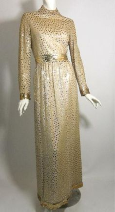 Dorothea's Closet Vintage gown, 70s gown, sequined gown, Victor Costa Romantica