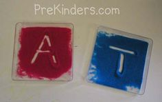 Practice writing letters in salt or sand boxes as shown here.  Salt can be colored by stirring it with colored chalk.