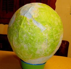 Very cool art project using a balloon to create globe. Good for geography and art.