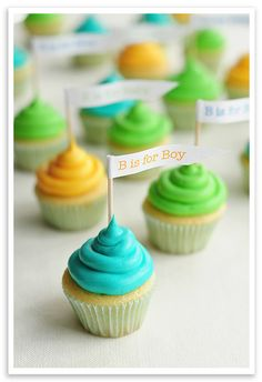 """B"" is for Boy. A baby boy to be precise. baby shower cupcakes, baby shower ideas, mini cupcakes, boy shower, baby boys, cupcake decorations, bright colors, babi shower, baby showers"