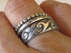 LOOK OF VINTAGE Feminine & Chunky Oxidized Set of 3 Sterling Silver Stacking Rings by tinyshinyones, $68.00