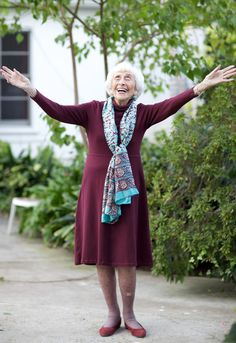 """Hedda Bolgar at age 103...""""With age, we get independence, learn how better to understand ourselves and become less anxious."""" A pioneering psychoanalyst, she  was actively seeing clients a week before her death. """"I've lived through revolutions, famine, war. Things like that."""" """"I started a lot of things at 65.""""  """"The day the Nazis came to Vienna, I left... They came on a Sunday and I decided on Monday they'd... probably find the person who wrote those terrible articles about them."""" Google her!"""