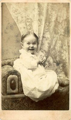 Rare to see such a funny expression in a picture from the 1800's. Cute