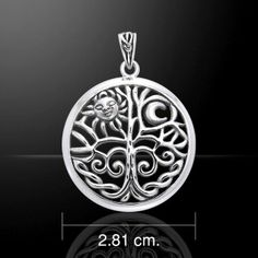 SOLSTICE Tree Pendant .925 S Silver CELTIC TREE of LIFE Sun MOON Druidic Tree
