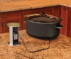 Cupboards Kitchen and Bath: Genius Moment - Carlon Pop-Up Receptacle.  pop up outlets in counter for kitchen and even bathroom to hide them from the walls.  don't forget mantle and in the floor?