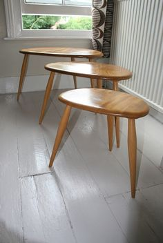 I love these Ercol pebble tables