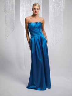 Elegant strapless sleeveless satin bridesmaid dress