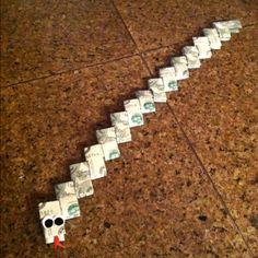 Money snake! A creative way to gift money to kiddos....