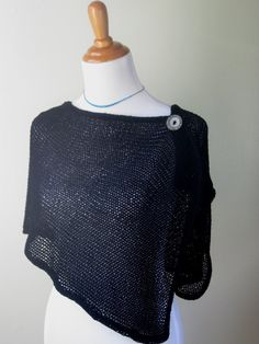 Knitted Black Mesh Shawl / Stole / Shoulder Wrap