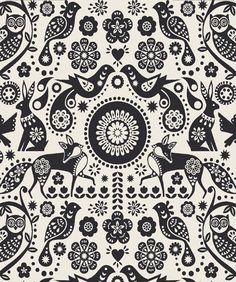 nina jarema, animal patterns, art patterns, redbird paperi, fox, folk art, graphic design texture, black white, patterns and prints
